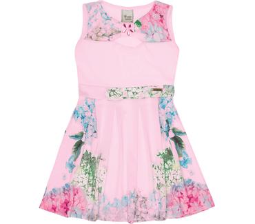 da1171e913 Vestido Cata-Vento Infantil Floral Rosa Claro