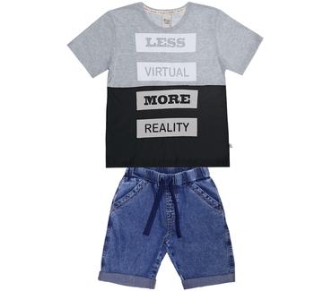 f97fb8e5bd Conjunto Cata-Vento Infantil Less Virtual Mescla Médio com Preto e Jeans  Claro