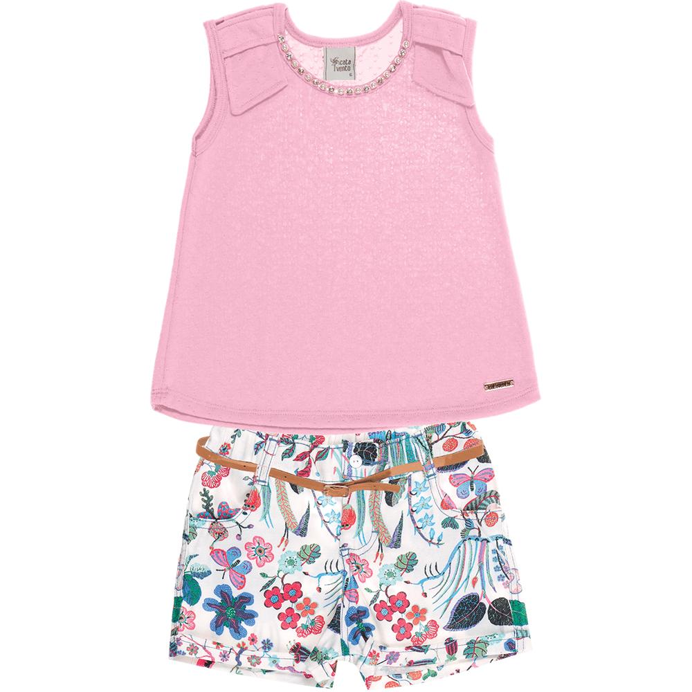 82c3d541df Conjunto-catavento-blusa-e-shorts-floral. Conjunto Cata-Vento Infantil  Perolado Rosa Claro