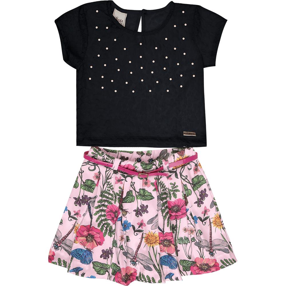 0378ce5c37 Conjunto-catavento-blusa-e-saia-floral. Conjunto Cata-Vento Infantil Pérolas  com Floral Preto e Rosa Claro