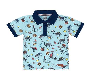 Camiseta-Polo-Primeiros-Passos-Cata-Vento-Dino-Herois-Azul