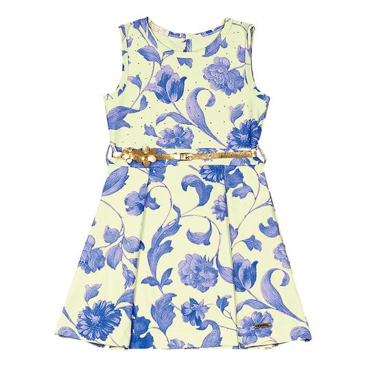 Vestido-Infantil-Cata-Vento-Flores-Azuis-Amarelo