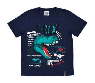 Camiseta-Infantil-Abrange-T-Rex-Azul-Marinho