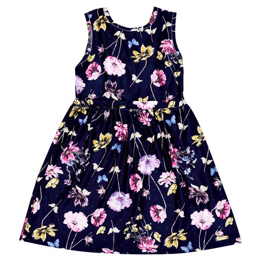 Vestido-Infantil-Abrange-Flores-Azul-Marinho