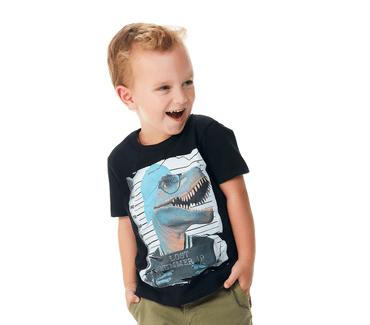 Camiseta-Primeiros-Passos-Abrange-Dinossauro-Preto
