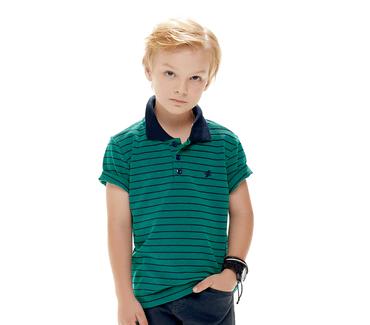 Camiseta-Infantil-Cata-Vento-Polo-Listrado-Verde