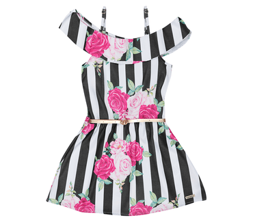 Vestido-Infantil-Cata-Vento-Listras-com-Flores-Preto