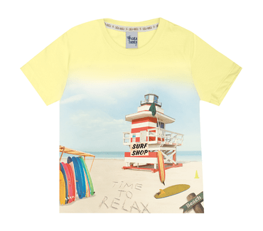 Camiseta-Primeiros-Passos-Cata-Vento-Praia-Amarelo